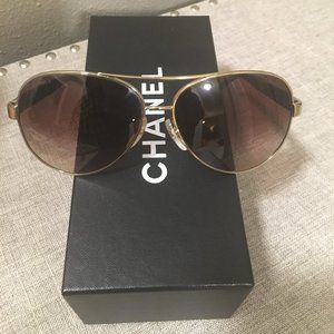 Authentic Chanel Gold Aviator Sunglasses